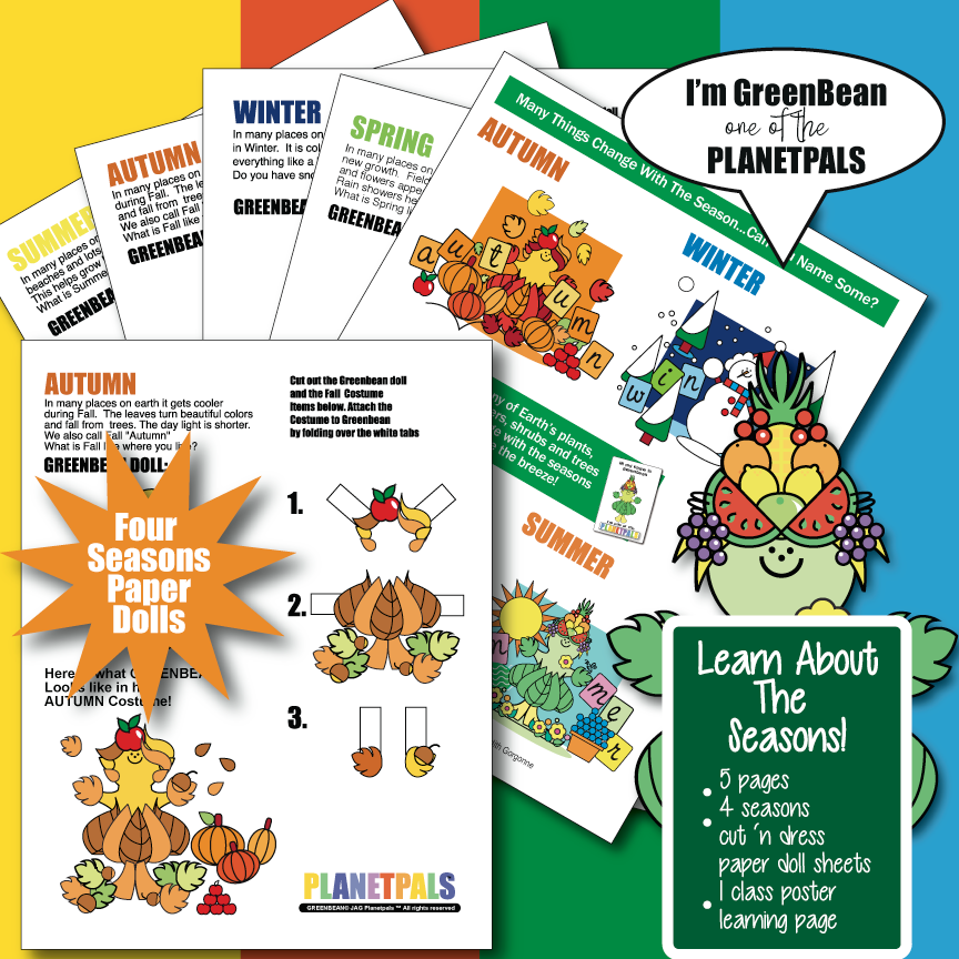 Four Season's Wall Chart and Learning activity and Paper Dolls