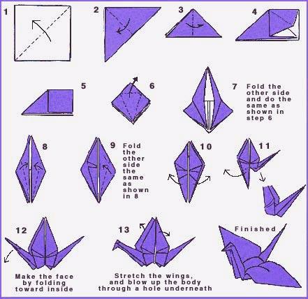 Origami peace crane directions world peace for Origami swan easy step by step