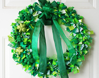 rag wreath for st patricks day