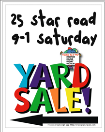 Download Free yard sale sign, yard sale ideas, yard sale tips