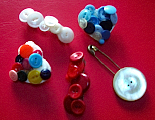 recycled button jewelry pins