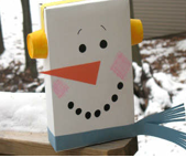 cereal box recycle snowman
