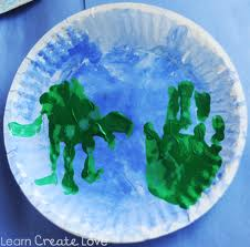 paper plate handprint earth earthday craft