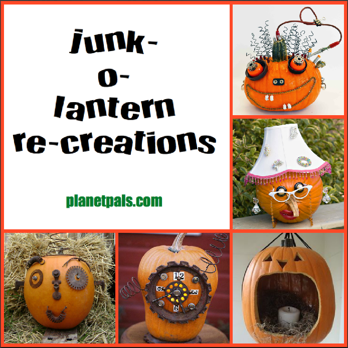 make a recycle pumkin junk-o-lantern