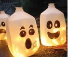 milk jug recycle halloween ghosts