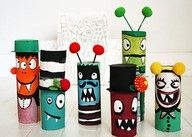 Paper roll halloween craft monsters