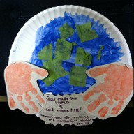paper plate earth and handprints aerthday activity