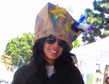 make a recycle party hat from bag container box