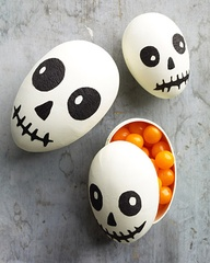 recycle easter plastic egss make these Halloween skeletons